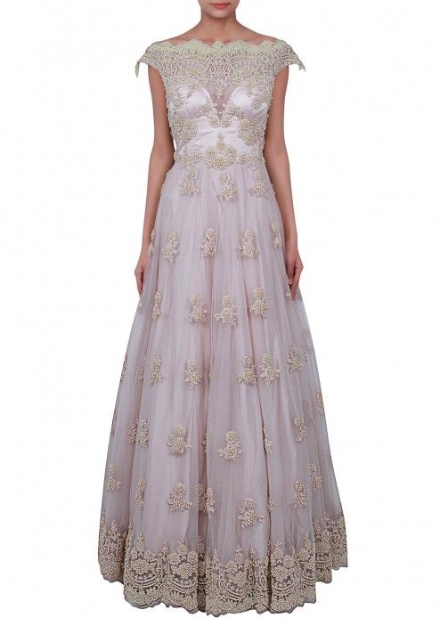 Grey gown embellished in pearl embroidery only on Kalki | go indian ...