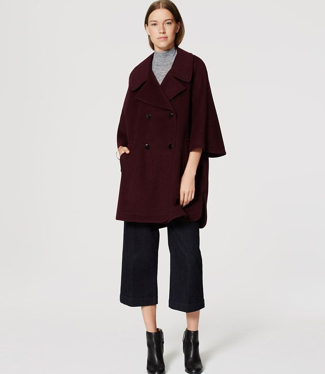 Petite Cape Coat | Plum colour, Fall fashion and Fall 2016
