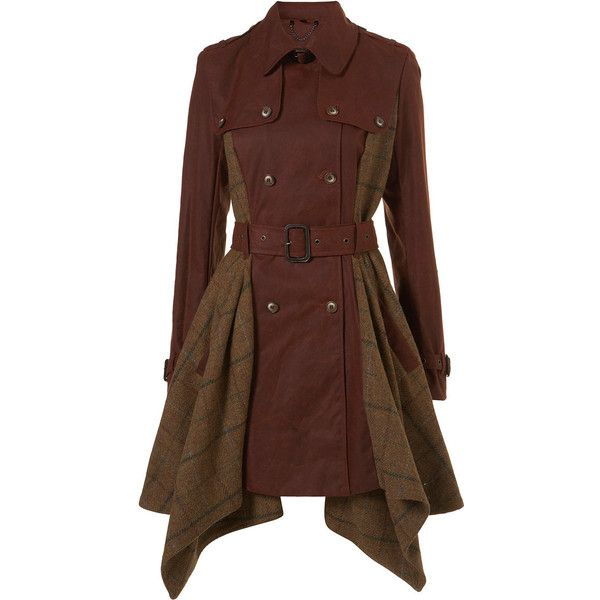 Asymetric Trench Coat ($200) ❤ liked on Polyvore featuring outerwear, coats, jackets, steampunk, dresses, women, wool coat, brown coat, steampunk coat and woolen coat