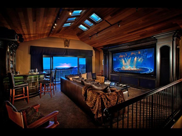 Cool Media Room With Wooden Ceiling