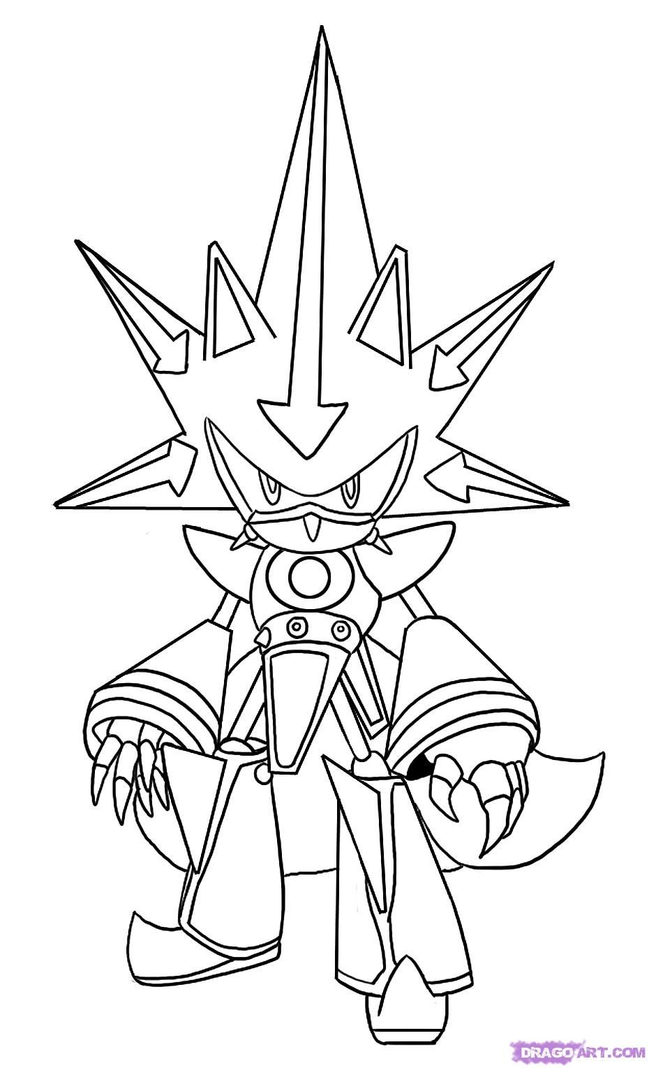 How To Draw Neo Metal Sonic By Dawn Coloring Pages Free