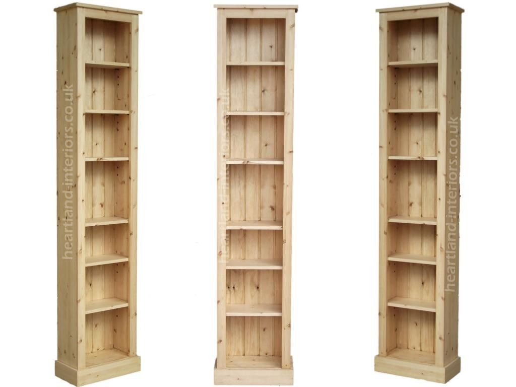 pine thin slim with narrow skinny tall doors bookshelf corona shelves bookcase waxed