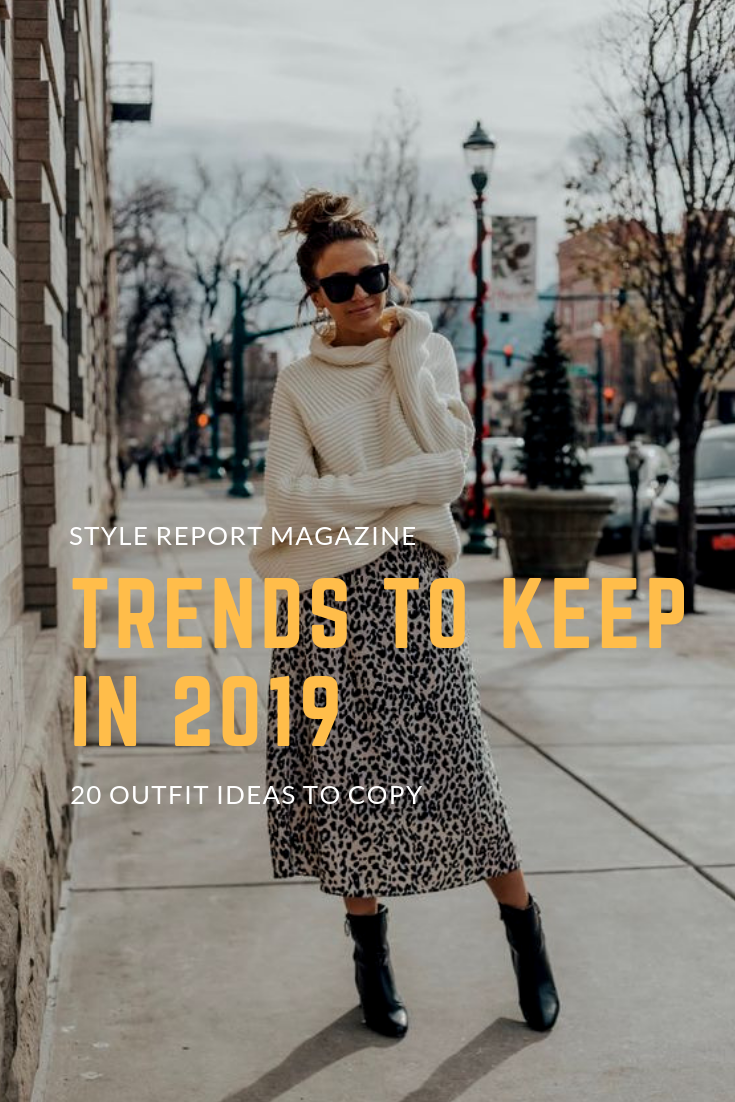 a334f875df91a5 Trends to Keep in 2019 Leopard Skirt Chunky Turtleneck Sweater Black  Booties Top Knot Chunky Sweater Outfit Ideas