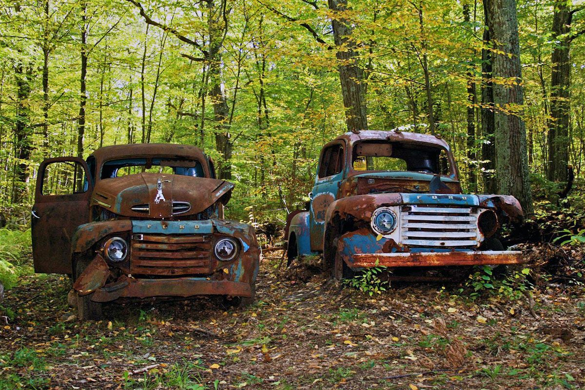 Old Trucks in the Woods | Abandoned vehicles, Cars and Vehicle