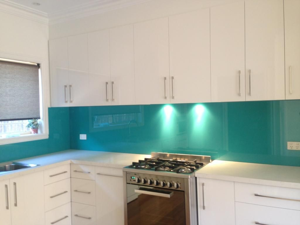 Update your kitchen with a bright vibrant coloured glass splashback ...
