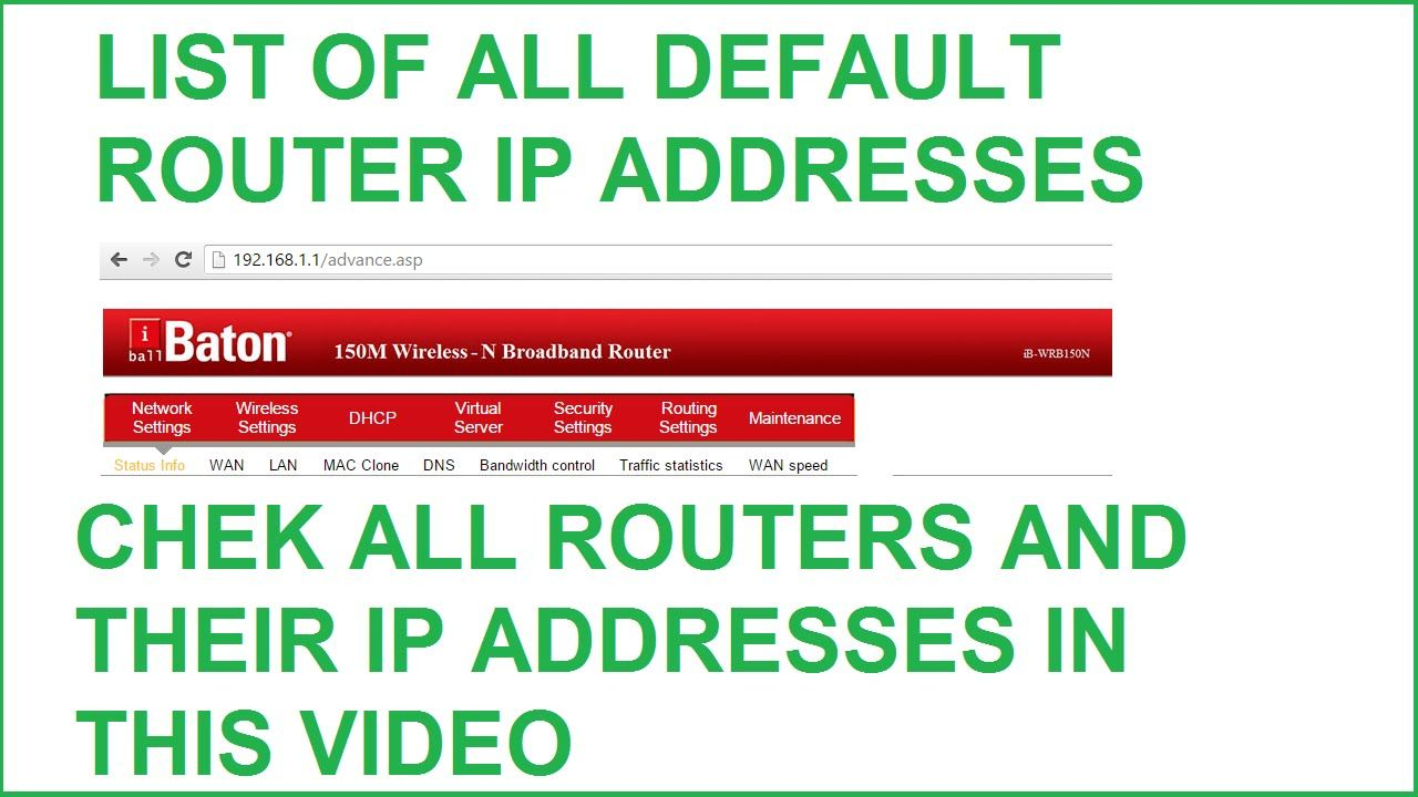 List of Default Router IP Addresses - AirlinkAsusBelkin And