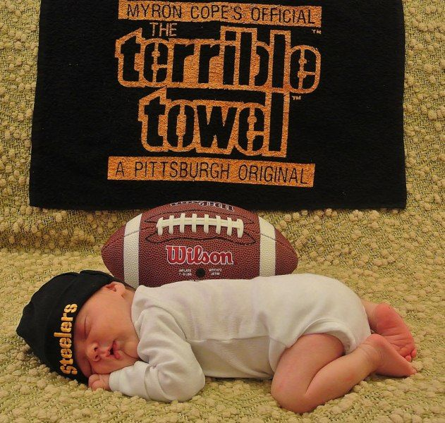 Steelers the terrible towel newborn photo shoot idea with dads favorite football