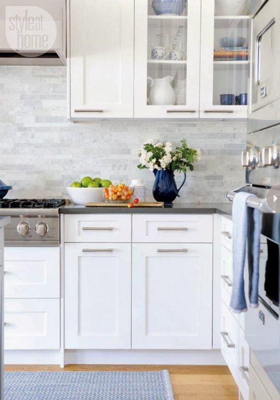 Marble Subway Tile White Kitchen Blue Accents