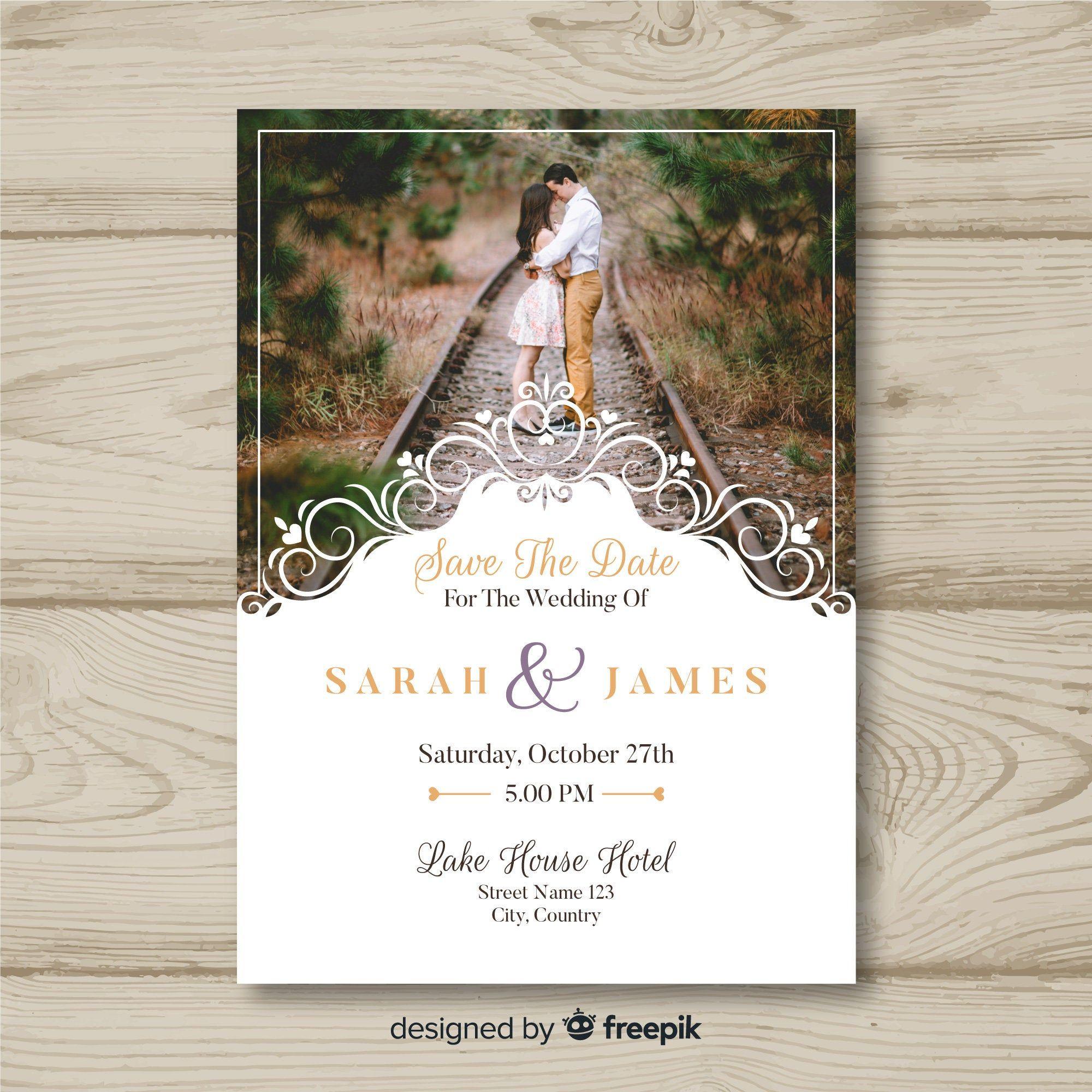 Elegant Wedding Invitation Card Template Eps Illustrator File Vintage Edi Di 2021 Kartu Undangan Pernikahan Desain Kartu Undangan Undangan Pernikahan