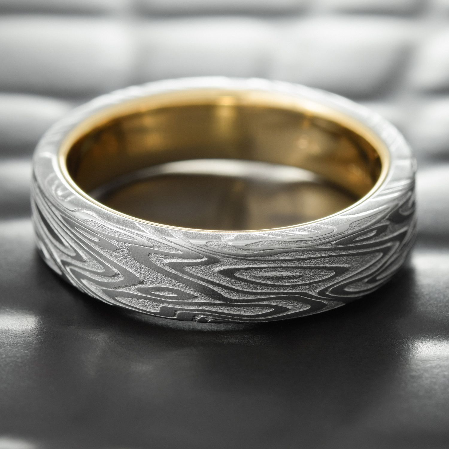 Flat Damascus Steel Mens Wedding Band With 14k Gold Liner 7mm Wide Ring Organic Wood Steel Wedding Ring Thick Diamond Engagement Ring Rings For Men