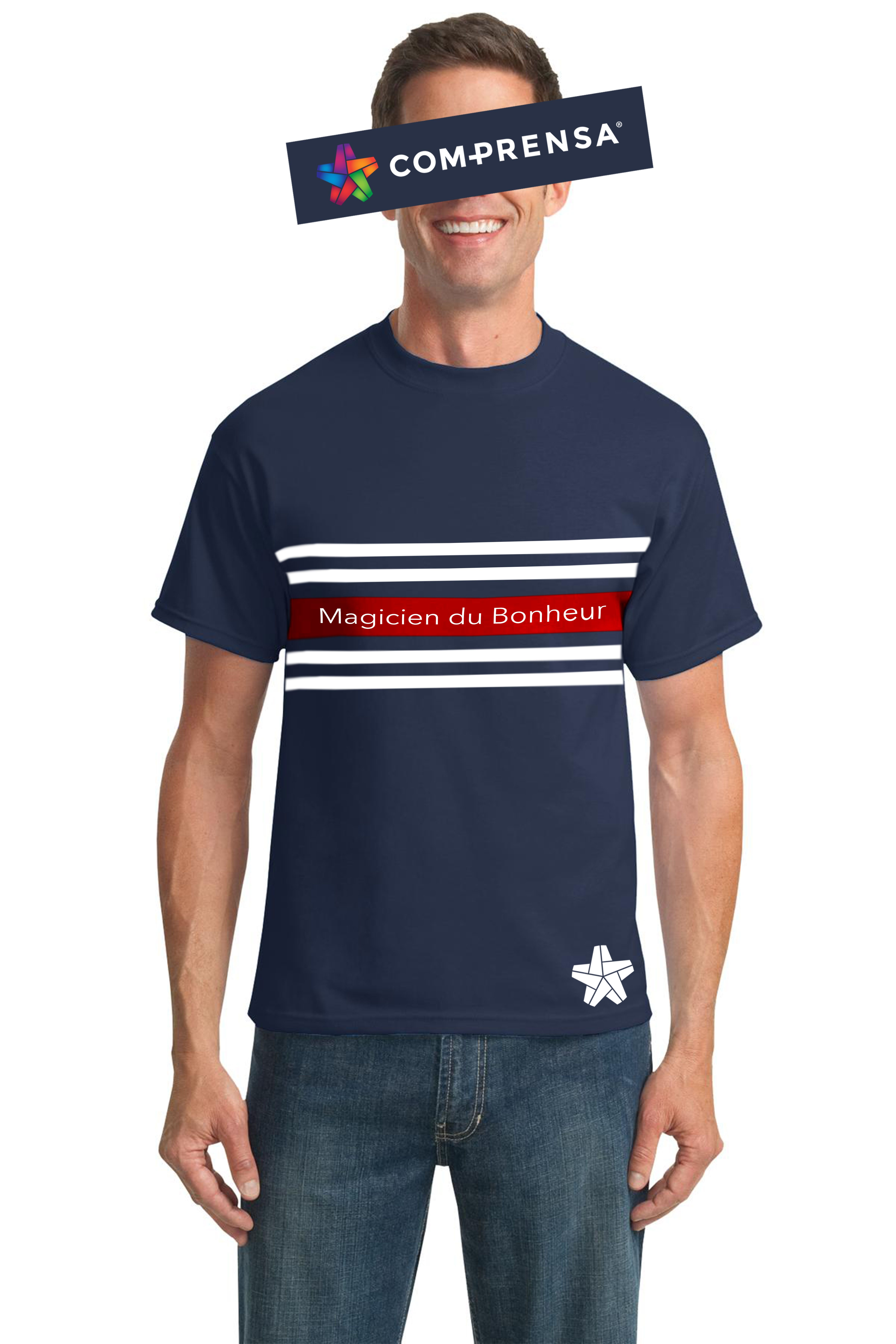 """T-shirt in navy cotton, from Com-Prensa, featuring a round neck, short sleeves, stripes to the chest, witha print """"Magicien du Bonheur.  #comprensa #model #fashion #manufacturer #design #company #textile #portugal #jersey #fleece #cotton #bio #sublimation #screenprinting #digitalprint #laser #photoprint"""