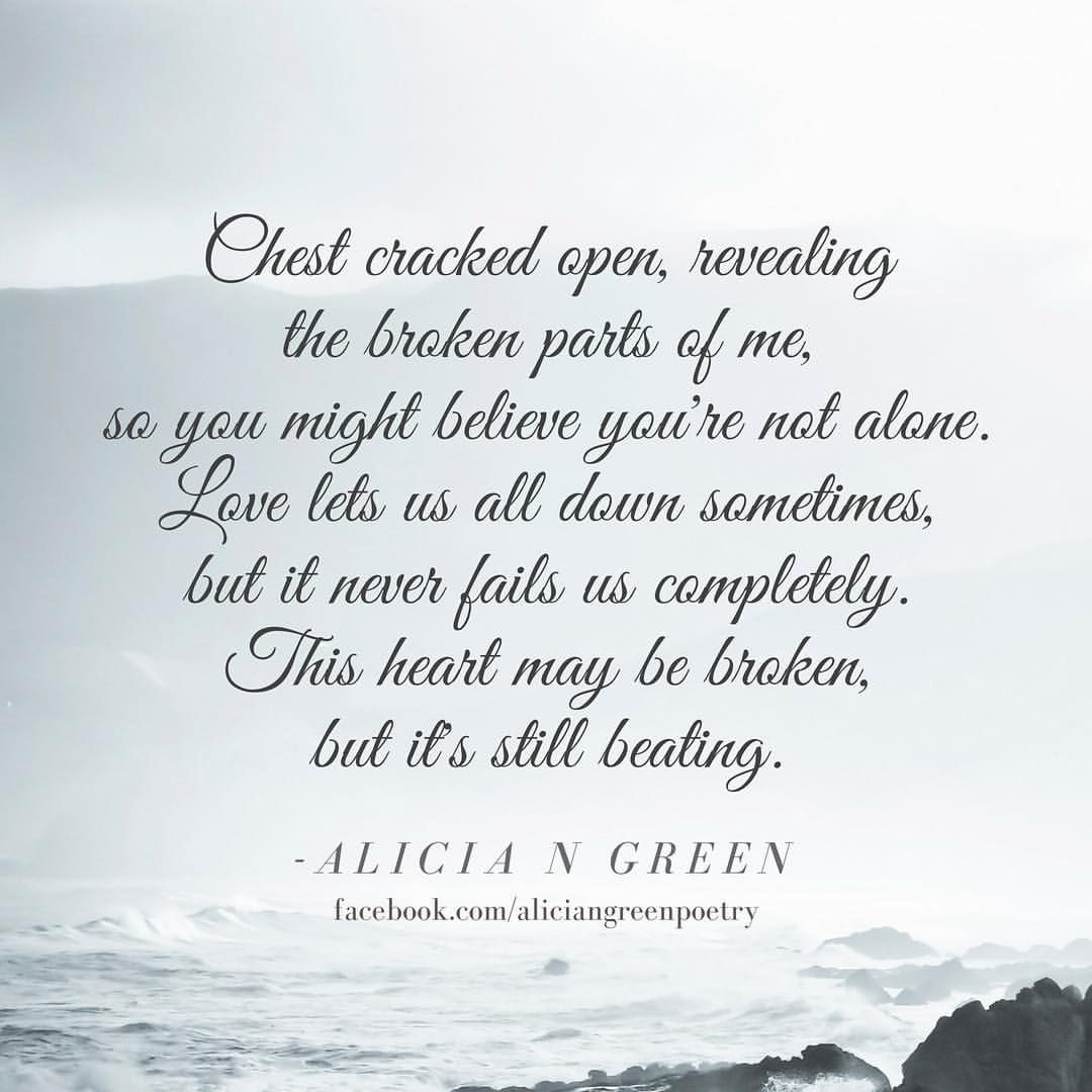 Broken poem quote by Alicia N Green love poem poetry love quote