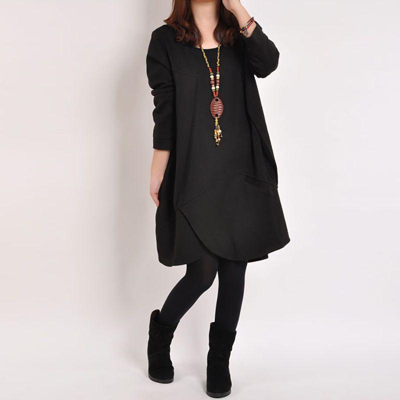 Hot 2015 Koreaanse herfst jurk size losse dunne solid ronde hals mouwen jurk…