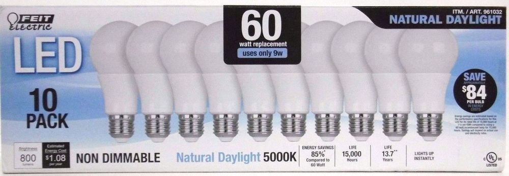Feit 60w Led Bulbs 10 Pack 60 Watt Replacement Uses Only 9 Watts 800 Lumens Feitelectric Led Bulb Led Bulb