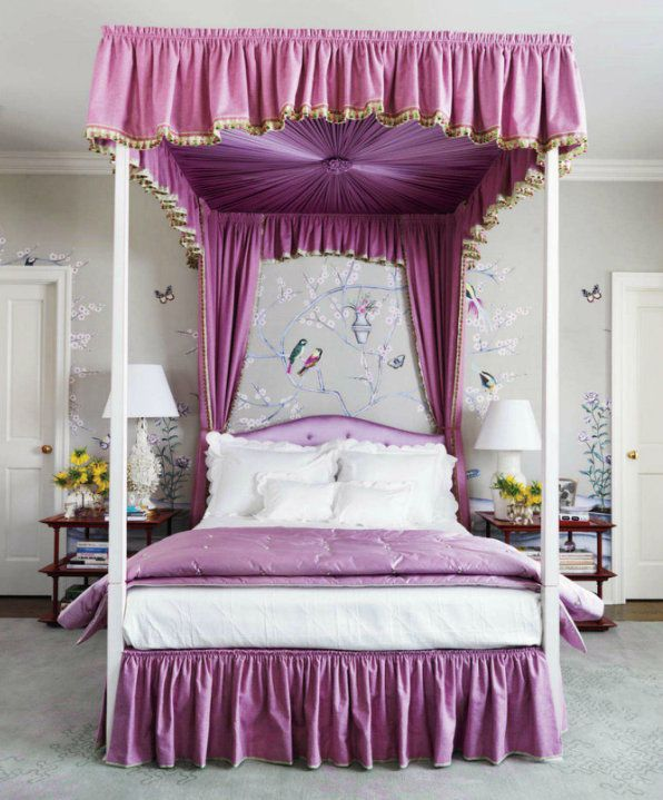 Mauve canopy bed and bedding with Chinoiserie my fav! & Mauve canopy bed and bedding with Chinoiserie my fav ...