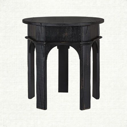 Perfect Handcrafted In Mexico Of Oak, The Arhaus Allegro End Table In Rubbed Noir  Black Features Stunning Arches Making It A Functional Work Of Art!
