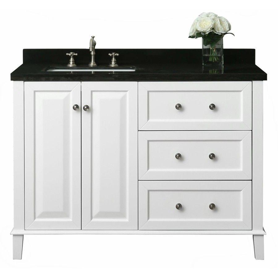Ancerre Designs Hannah White Single Sink Vanity With Black Natural Marble Top Common 48 In X 22 In Lowes Com Quartz Vanity Tops Single Sink Bathroom Vanity Marble Vanity Tops [ 900 x 900 Pixel ]