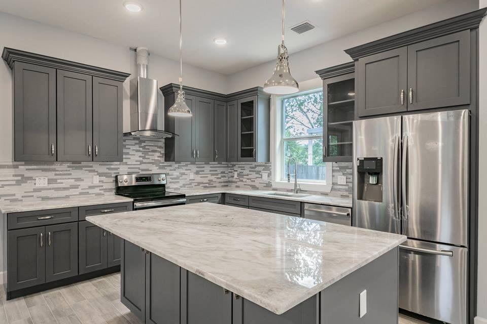 Grey Cabinets Back Splash Counters Kitchen Cabinet Design Kitchen Renovation Diy Kitchen Remodel