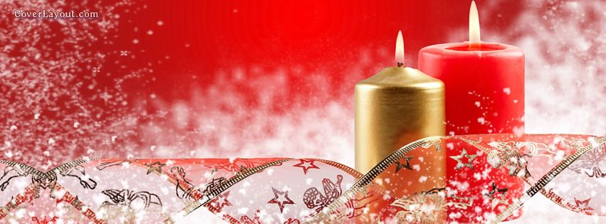 Red and Silver Christmas Holiday Snowy Candles Facebook Cover ...