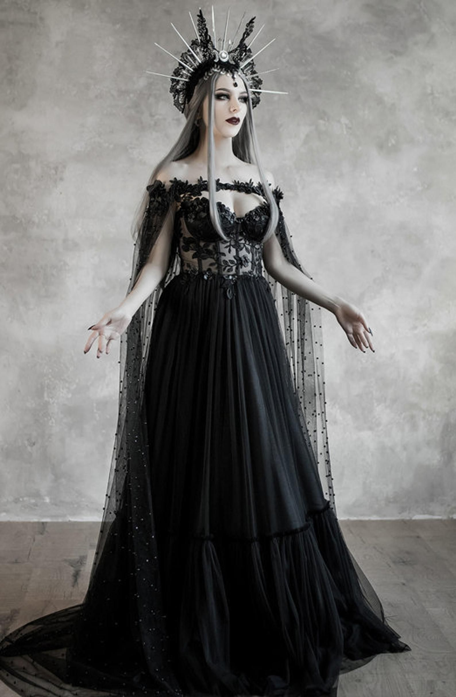 Dark Fairytale Wedding Dress With Cupped Corset Bodice Gothic