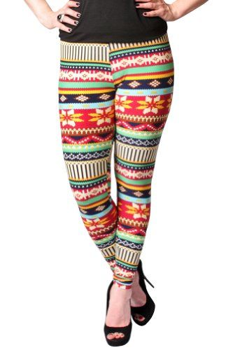 Women's Cherry Red and Blue Tribal Fashion Leggings