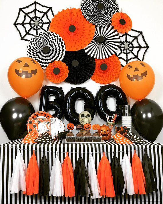 Halloween Party Decorations, Orange and Black Party Decorations - decorating for halloween party