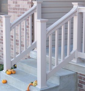Outdoor Stair Railings Handrails Railings And Columns « Exterior | Front Porch Stair Railing | Wood | Style Cape Cod | Modern | Simple | Patio