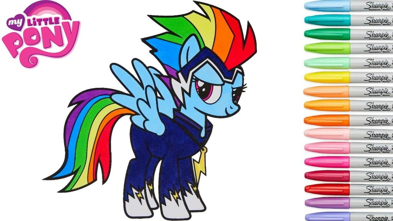 My Little Pony Coloring Book Rainbow Dash Power Ponies Go Zapp MLP ...