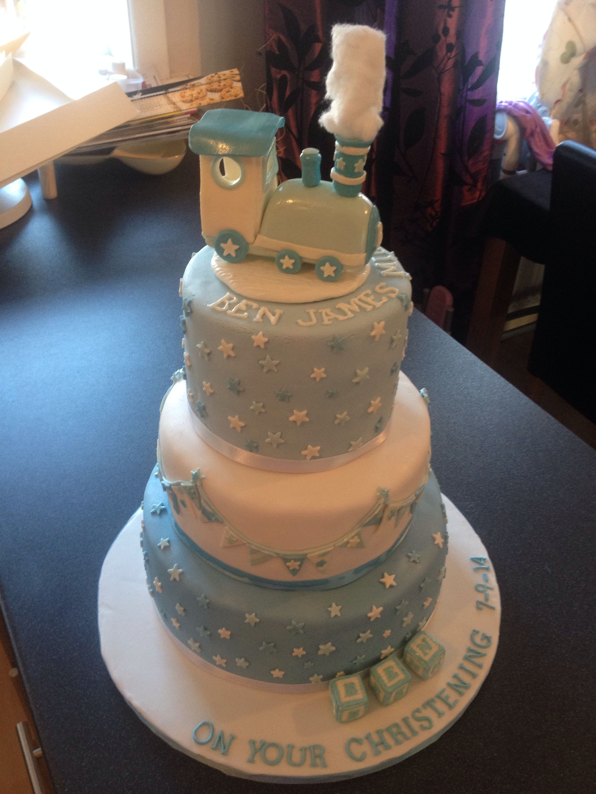 Christening Baby Boy 1st Birthday Pale Blue And White Cake 3 Layers With Train Building Blocks Name Bunting Stars Love It