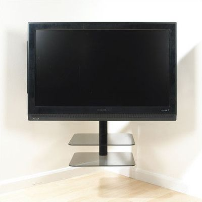 avf nexus floating flat panel corner mount with av component shelving screens for the home. Black Bedroom Furniture Sets. Home Design Ideas