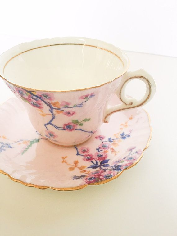 Pink Floral Paragon Tea Cup & Saucer by TheOldSouthVintage on Etsy