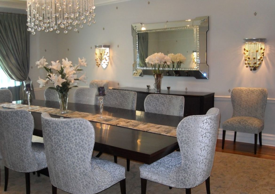 Dining Room Enchanting Decor Ideas With Some Mirrors On Wall For Better Lighting Chandelier Curtain Big Glass Window Wood Floor Rug Ta