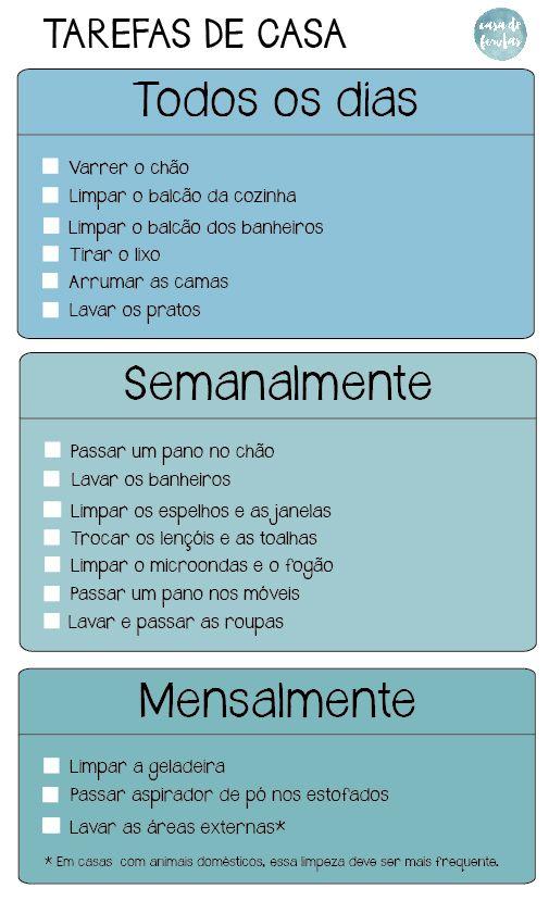 Check List De Tarefas De Casa Tarefas De Casa Dicas De