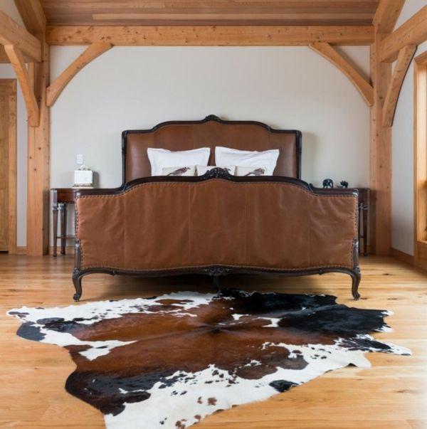 Kuhfell Teppich Schlafzimmer Bettvorleger Polsterbett Braun Leder