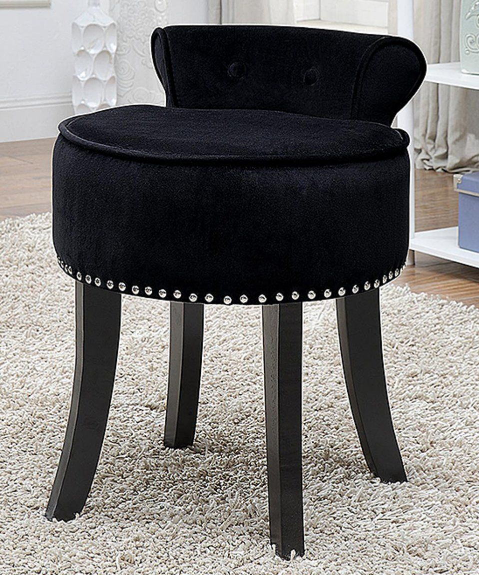 Take A Look At This Black Odion Roll Back Vanity Stool Today