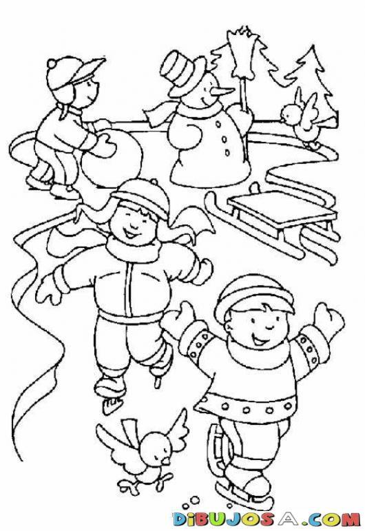Colorear Ninos Patinando En Hielo Para Navidad | COLOREAR DIBUJOS DE ...