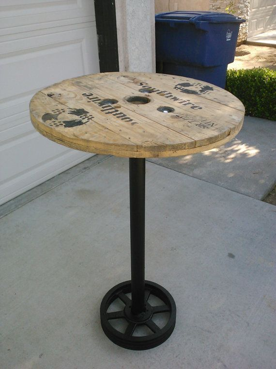 Wood Bar Tables Pub Table Bar Table Recycled Top Of Spool From