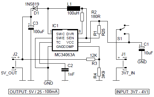 5V Power Bank with 3.7V Li-Ion Battery circuit
