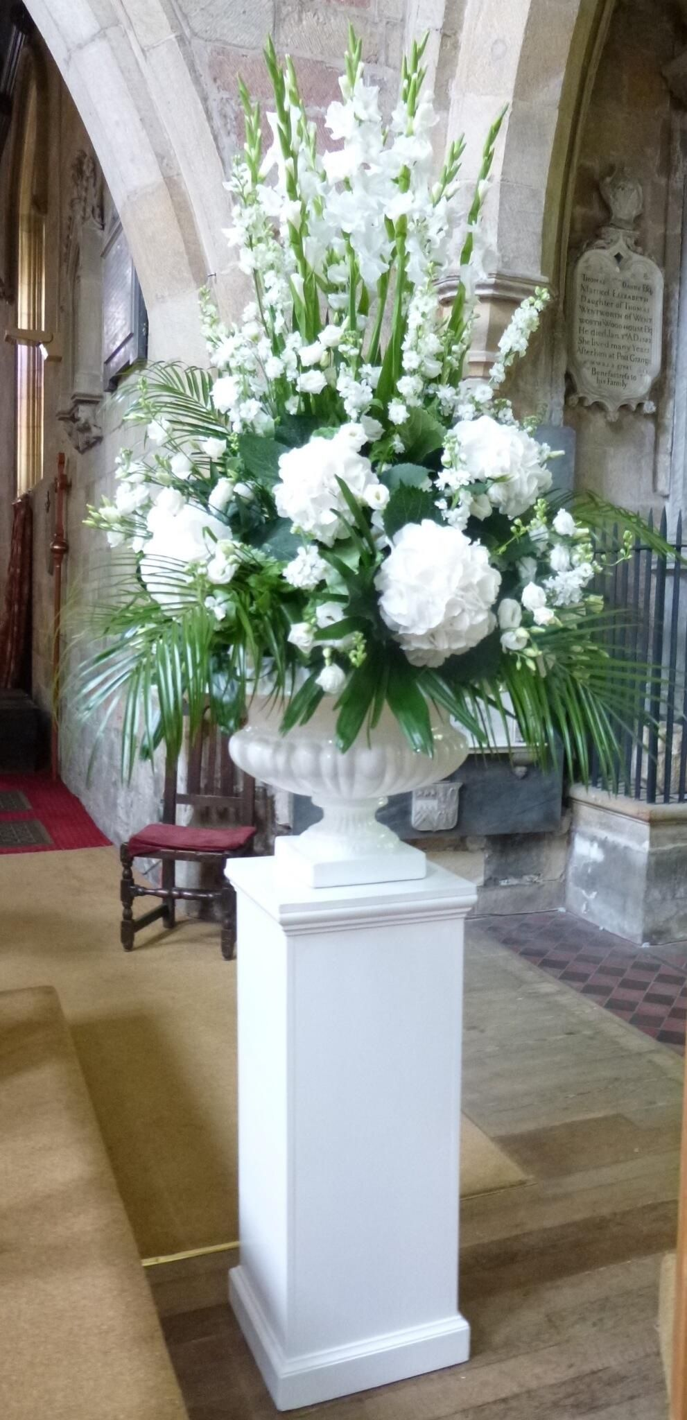 White pedestal arrangement Floral Pinterest
