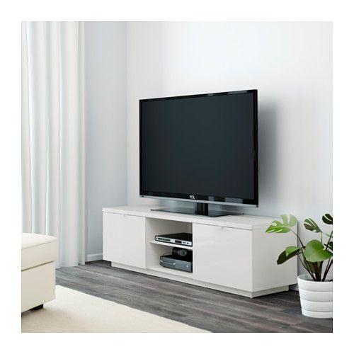 Byas Banc Tv Brillant Blanc 160x42x45 Cm Meuble Banc Tv