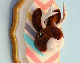 Faux Taxidermy Jackalope with Hand-Painted Wood Mount