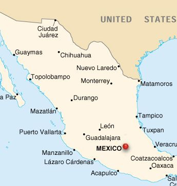 this is a map of mexico cities
