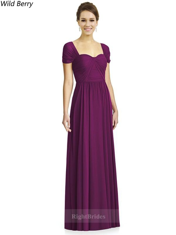 Best 2018 Long Chiffon Wild Berry Cap Sleeves Bridesmaid Dresses ...