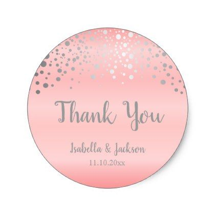Pastel pink and silver confetti dots classic round sticker create your own gifts personalize cyo