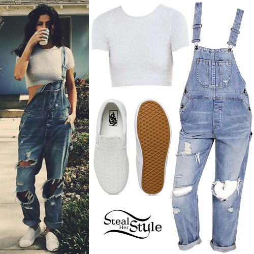 60f30eef58e Selena Gomez posted a picture on instagram a few days ago wearing a Kimchi  Blue Fuzzy Cropped Tee ( 44.00) and a BDG Ryder Boyfriend Overall ( 99.00)  from ...