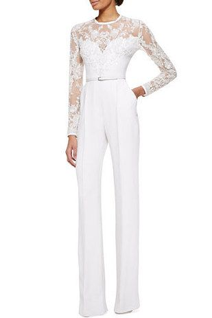 2b98d32e66b6 Elie Saab Long-Sleeve Lace-Embellished Jumpsuit