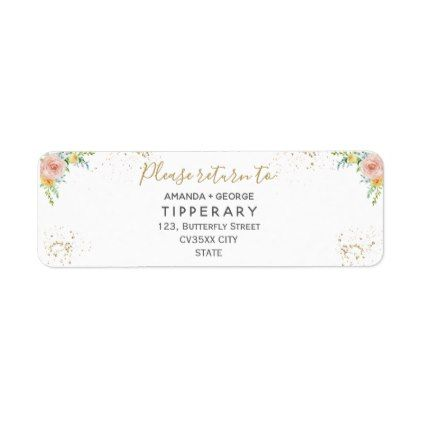 Foral and gold wedding Return address label templates cyo