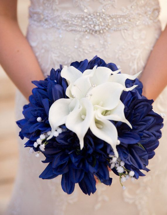 Blue White Bouquet Calla Lilies Navy By