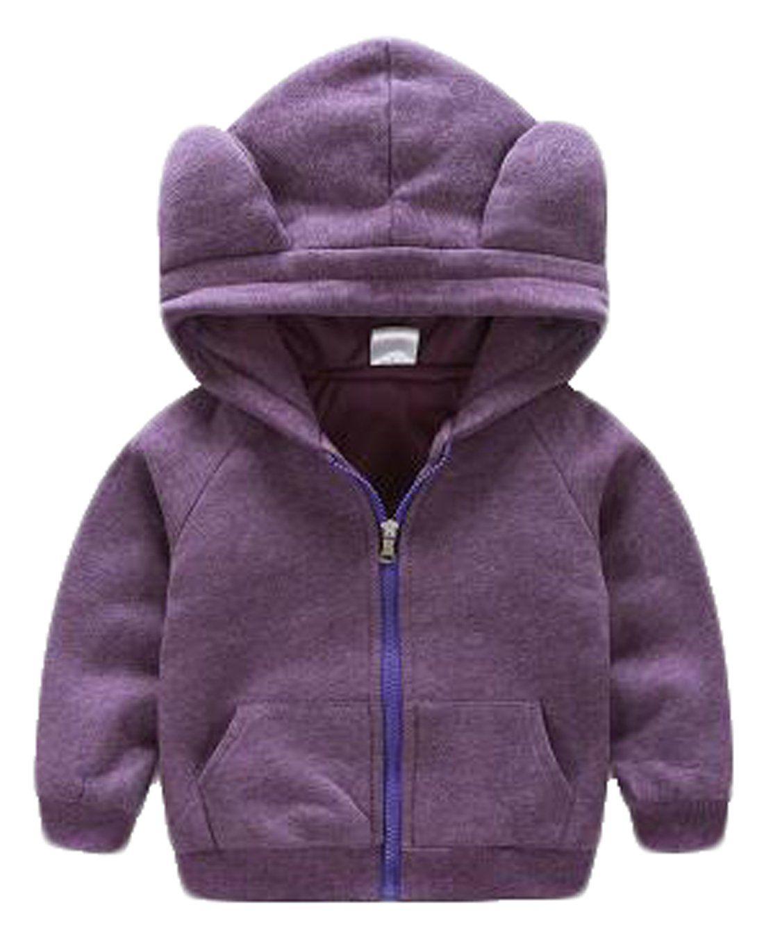 623553c4b Yayu Kids Baby Boy s Winter Warm Bear-Ear Zipper Hooded Jacket Coat ...