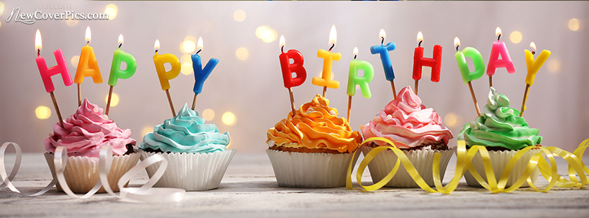 Happy Birthday Fb Cover Phoot Happy Birthday Cupcakes Happy Birthday Cupcake Candle Birthday Greetings For Facebook